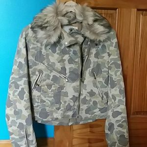 Camo fur turned jacket